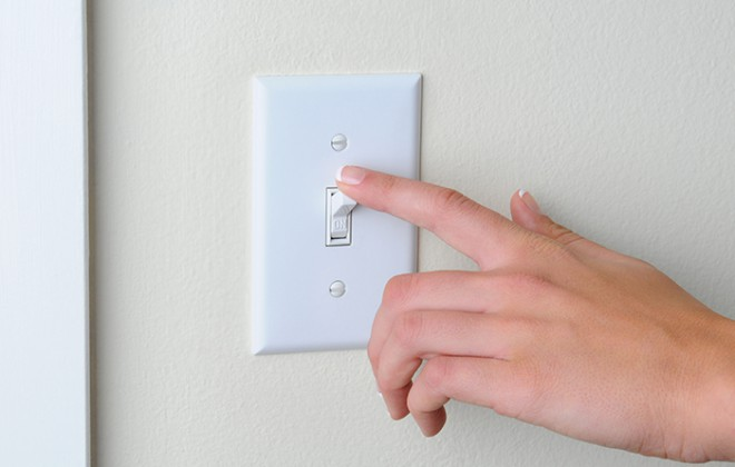 light switch being turned off
