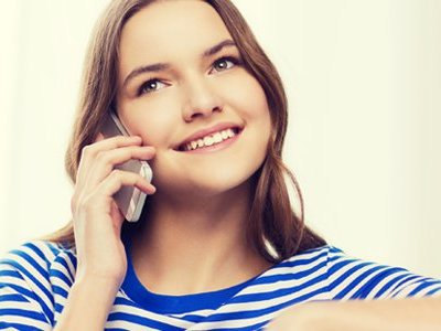 girl stripes phone